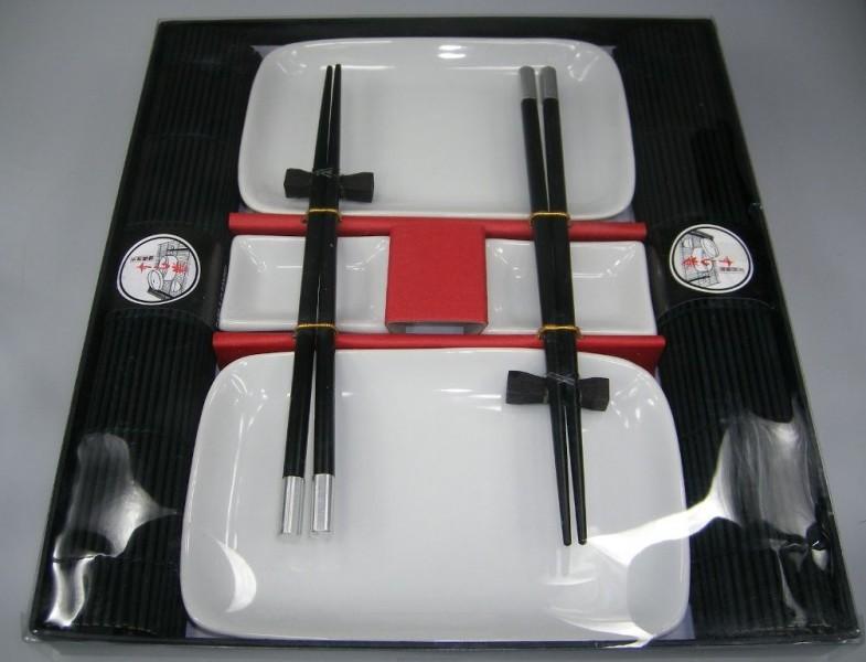 10 tlg sushi ess service wei schwarz 2 personen japan. Black Bedroom Furniture Sets. Home Design Ideas