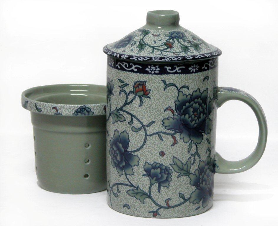 blaue rosen teebecher mit sieb deckel 8cm h 15 cm becher mug 6909601731730 ebay. Black Bedroom Furniture Sets. Home Design Ideas