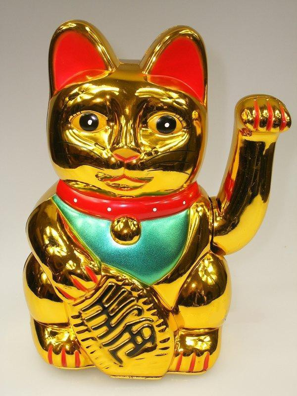 gl ckskatze 20cm winkekatze maneki neko gold fortune cat feng shui gl cksbringer ebay. Black Bedroom Furniture Sets. Home Design Ideas