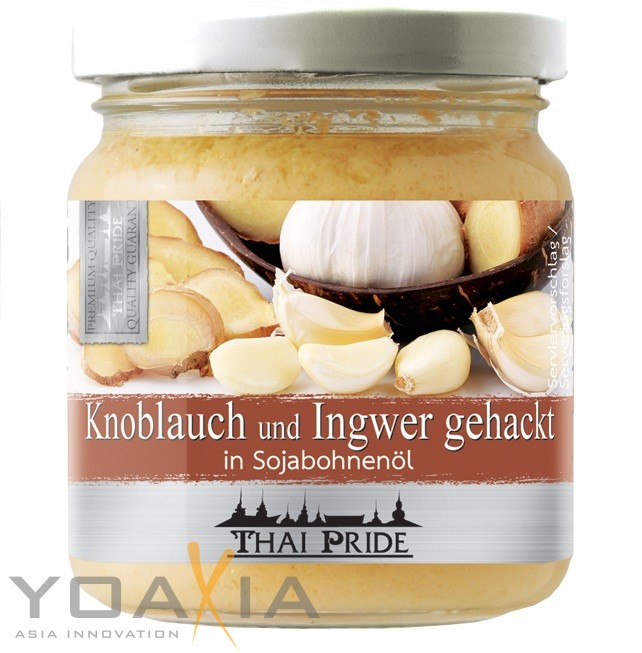 175g thai pride gehackter knoblauch und ingwer mix in sojabohnen l exotic food gew rze ingwer. Black Bedroom Furniture Sets. Home Design Ideas