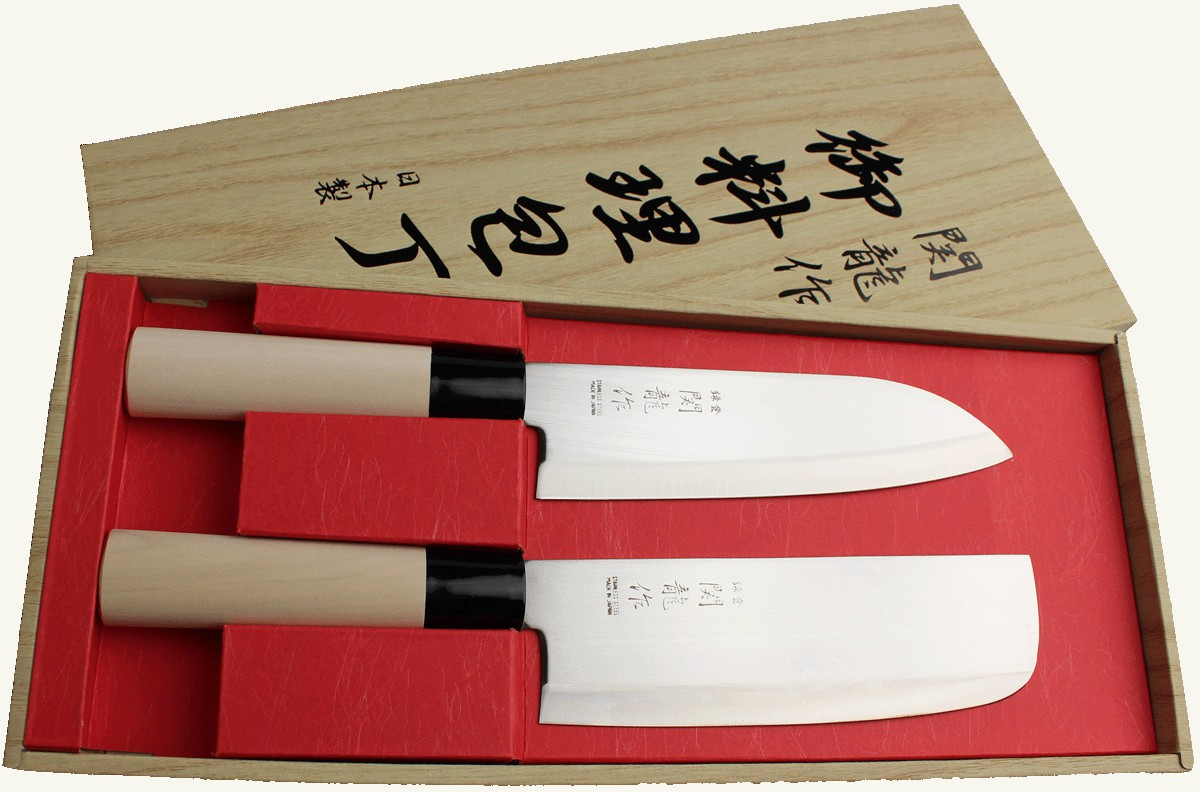 sekiryu santoku nakiri 2 japanische messer messerset made in japan sr600 ebay. Black Bedroom Furniture Sets. Home Design Ideas